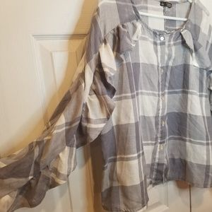 TinselTown Large Ruffled Plaid Button Down
